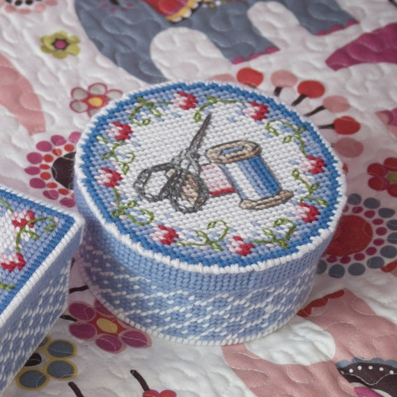 Sewing Basket Plastic Canvas Free Patterns To Print Blue Box