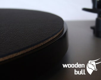 Wooden Bull Leather and Cork Audiophile Turntable Mat - Black
