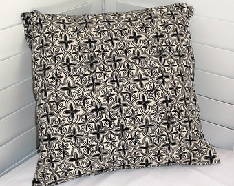 Pillow Cover, Throw Pillow Cover, Decorative Pillow Cover, Cotton Print Fabric, Black Ivory Flower Petals Geometric