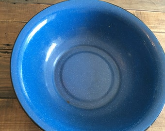 Vintage Blue and Black Enamelware Bowl/