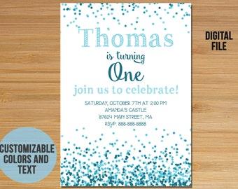 Conffeti First Birthday Invitation, Polka Dot Birthday Invitation Invite, Blue, First Birthday Boy