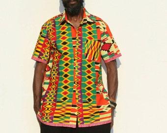 Colored cotton short sleeve shirt size L