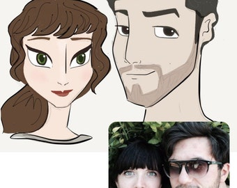 Couples Portrait. Hand-Drawn, 'Disney-Style'.