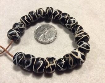 19 Loose Antique Rattlesnake African Trade Beads