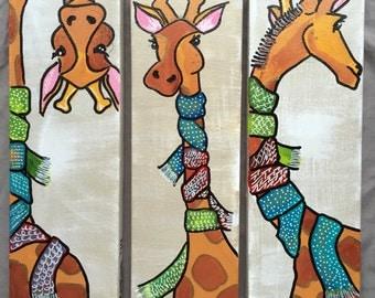 Giraffe Art, Giraffe paintings, Giraffe set, children's nursery art, nursery art, nursery decor, preschool art, animal paintings