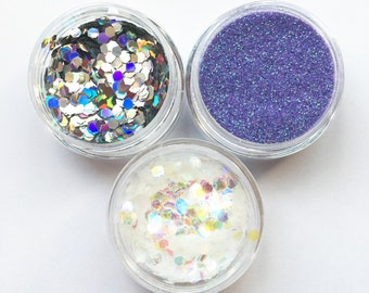 Unicorn Pastels Face Body Glitter Combo 3 Pack Holographic Iridescent Festival Sparkle Pots