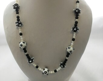 Black and white Lampwork glass necklace