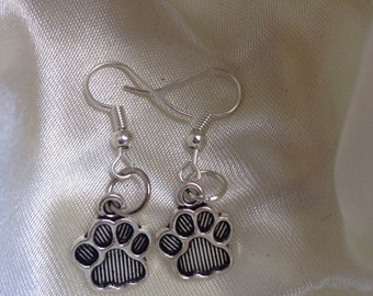 Paw print earrings, silver plated