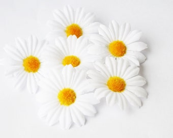 "Lot of Daisies 50 Artificial Daisy Silk Flowers White Chamomile yellow center 2"" Floral Hair Accessories Flower Supplies Faux Fabric"