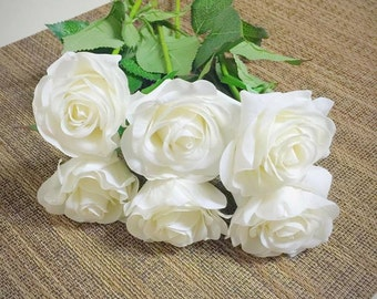 10Pcs Real Touch Creamy White Artificial Rose Flower for Wedding Party or Home Decoration - DIY Bouquet Table Centerpiece Flower Arrangement