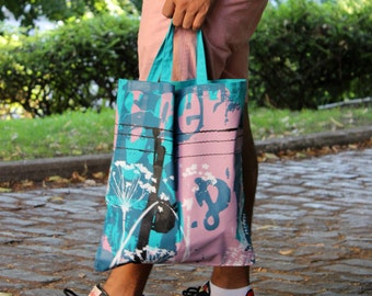 Silhouette tote bag in turquoise