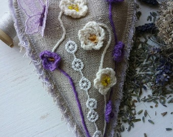Handmade Vintage Hangable Sachet Heart Filled With Natural Aromatic Lavender Flowers