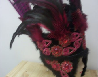 Theatrical showgirl feathered  headdress dance stage