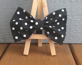 Black and white polka dot dog bow tie