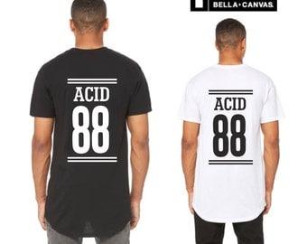 Mens longline curved hem t shirt Acid 88 / streetwear oldskool raver rave acid house music long length elongated tall top mens fashion