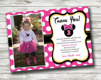 Minnie Mouse Thank You Photo Card