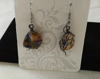 Wrapped stone earrings with gunmetal wire