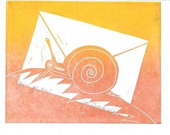 Linocut Art Card - You've Got Mail