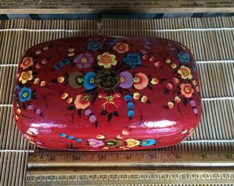 Vintage handpainted paper mache red floral box