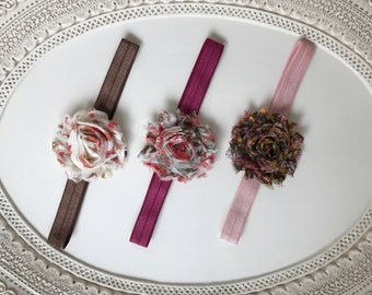 """Set of 3 """"AUTUMN FLORAL"""" Collection of Shabby Chiffon Rosette Flower Baby Headband Set"""