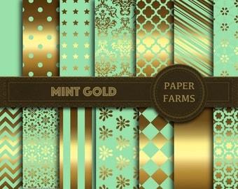 Mint gold digital paper, mint gold scrapbook paper, digital scrapbooking, mint gold wallpaper, instant download