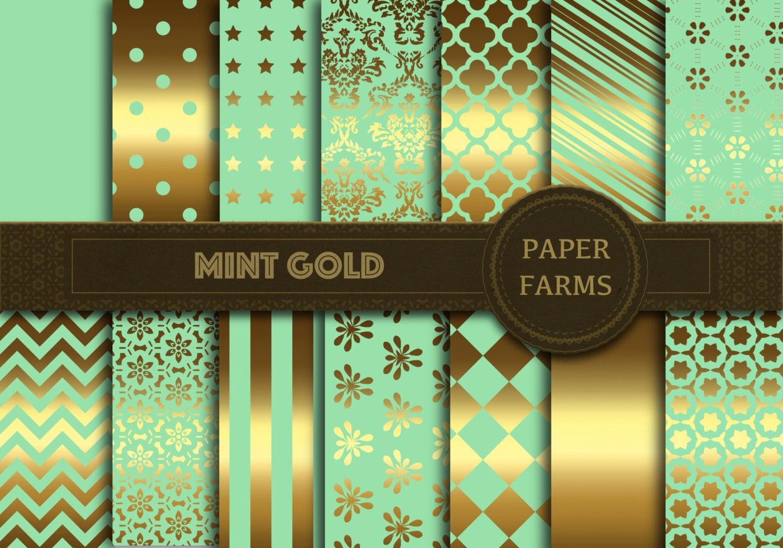 Scrapbook paper dollhouse wallpaper - Mint Gold Digital Paper Mint Gold Scrapbook Paper Digital Scrapbooking Mint Gold Wallpaper Instant Download