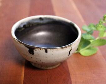 Handmade small pottery bowl - black and white - deep