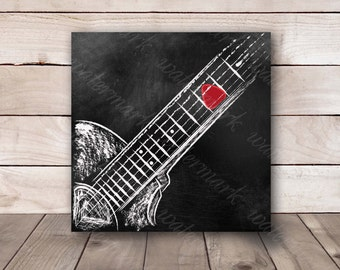 Guitar wall art Guitar chalkboard Guitar printable Guitar art print Guitar poster music Poster guitar. Instant download