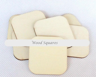 30 Wood Squares | 2 sizes available 50mm / 70mm | Rounded Edges Natural wood shapes