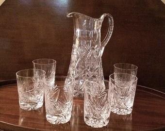 Cut Glass Water Set - Seven-Pieces – Excellent Vintage Condition