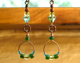 Green and Turquoise Long Earrings