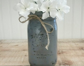 Rustic Distressed Mason Jar Vase, Centerpiece, Quart Size