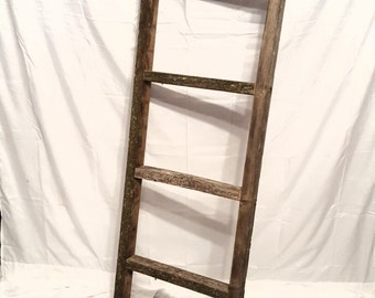 Rustic decorative ladder. 5 foot tall. Reclaimed wood. Great for blankets!
