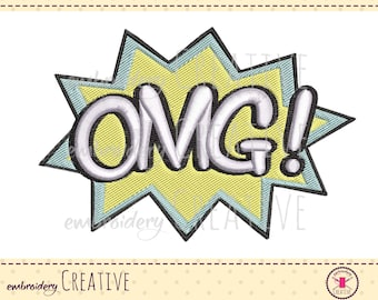 Comic OMG Machine Embroidery Design for patch