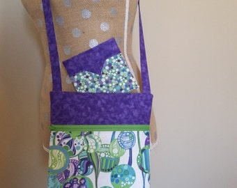 Handmade by CMarie with Purple Green Bubble Cotton Fabric