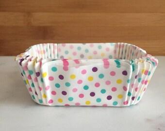 Pastel Polka Dots, Petite Loaf, Baking Liners (50)