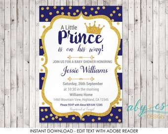 Little Prince Baby Shower Invitation, Blue & Gold glitterEdit yourself with Adobe Reader