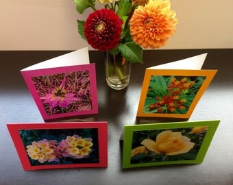 Flower Greeting Cards / Set of 4
