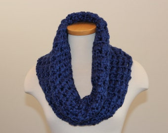 Blue Chunky Scarf, Blue Cowl Scarf, Winter Thick Scarf, Blue Energy Scarf