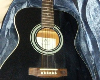 Acoustic folk guitar and case