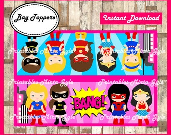 Supergero girls Bags Topper, printable girl Supergero party Bags Topper, Supergero Pink box
