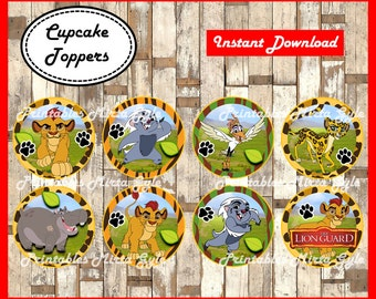 Lion Guard cupcakes toppers, printable Lion Guard party toppers, Lion Guard toppers