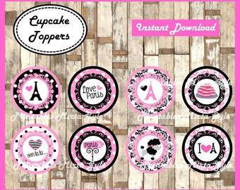 Paris cupcakes toppers, printable Paris party toppers, Paris cupcakes toppers
