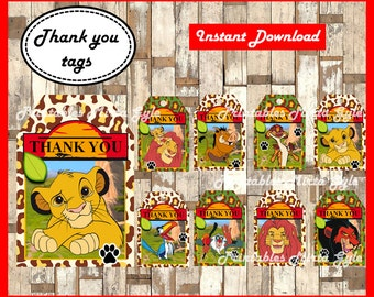 The Lion King Thank you Tags, printable The Lion King party Thank you Tags, The Lion King Thank you Tags