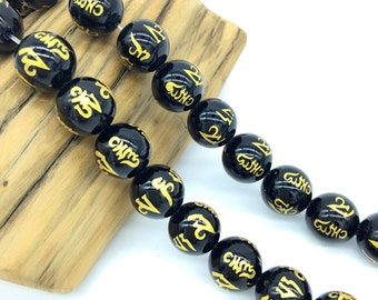 Om Black Onyx Beads,Om Round Beads,Mandra,6MM 8MM 10MM Black Om Beads,Om Mani Padme Hum Beads,Mala Beads,108 Mala Jewelry Supplies