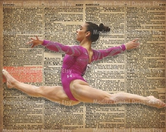 Aly Raisman Printable Typography Text Art Word Art Motivational Poster, USA Gymnast 5x7 8x10 16x12 INSTANT DOWNLOAD