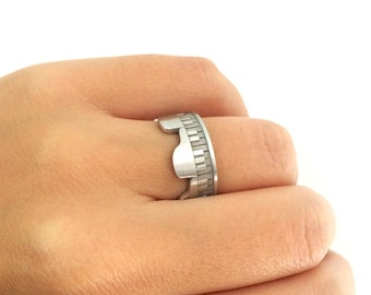 Silver Piano Ring, Piano Band Ring, Wedding Band Ring, Piano Jewelry, Music Ring, Music Jewelry, Piano Jewelry, Pianist Ring, Bridal Ring