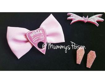 Pink Ouija Bow & Coffin Earrings