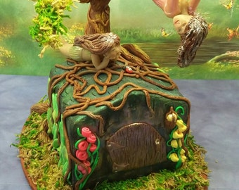 OOAK Polymer clay fairy house