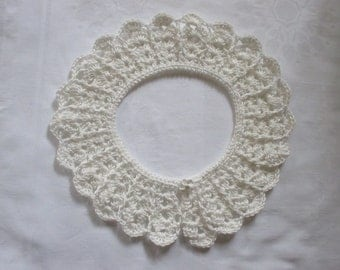 Crochet collar lace Peter Pan collar CREAM cotton crocheted selfmade